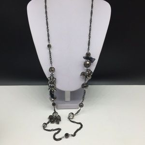 NEW Talbots Black Gray Glass Beaded Long Necklace